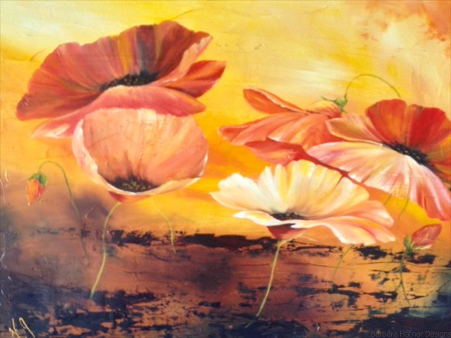 Bright Red Poppies<br/>Oil<br/>Maxine Gillilan