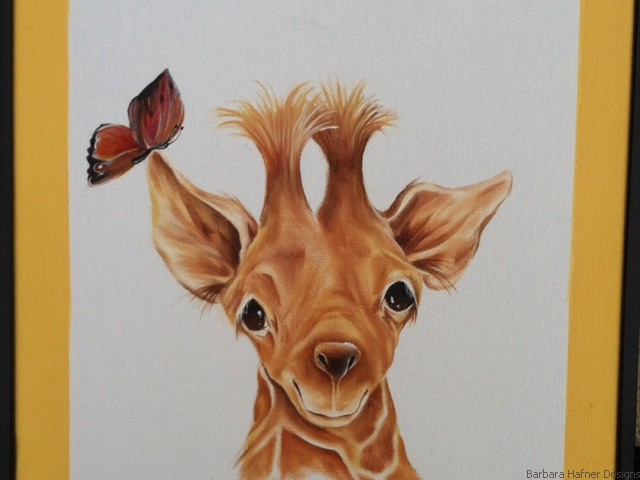 "Baby Giraffe and Butterfly<br/>14"" x 16""<br/>Maxine Gillilan"