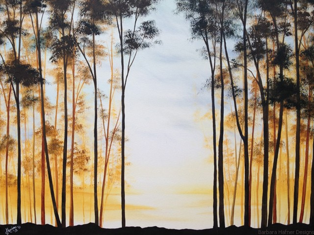 "Silhouette Trees I<br/>24"" x 30""<br/>Maxine Gillilan"