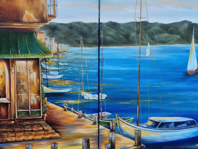 "Waterfront Bistro Dyptych<br/>20"" x 30""<br/>Maxine Gillilan"