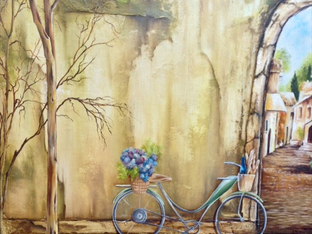 "Old World Bicycle<br/>24"" x 24""<br/>Maxine Gillilan"