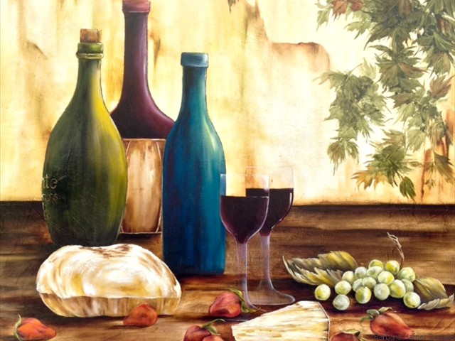 "Wine and Cheese<br/>24"" x 24""<br/>Maxine Gillilan"